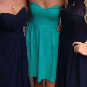 Teal strapless dress